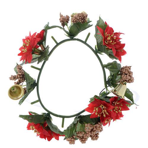 Girocandela di Natale (per candele classiche) pigne e bacche 1