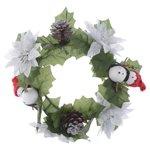 Christmas candle embellishment for classic candles, pine cones and snowmen 1