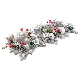 Centrotavola natalizio Avvento con 4 bicchieri bacche rosse s1