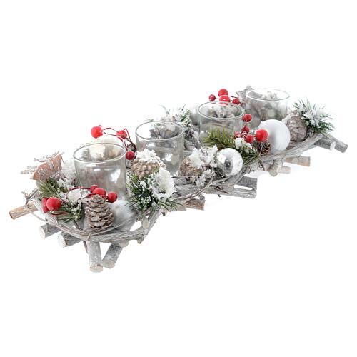 Centrotavola natalizio Avvento con 4 bicchieri bacche rosse 1