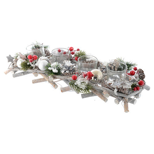 Centrotavola natalizio Avvento con 4 bicchieri bacche rosse 2