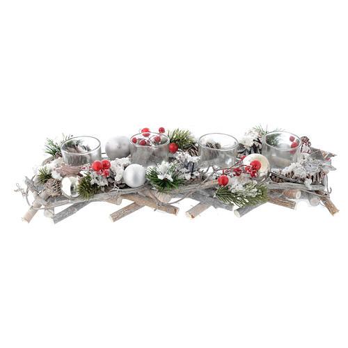 Centrotavola natalizio Avvento con 4 bicchieri bacche rosse 3
