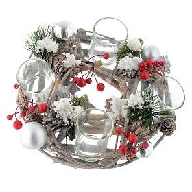 Centrotavola di Natale e Avvento con bicchieri e bacche s1