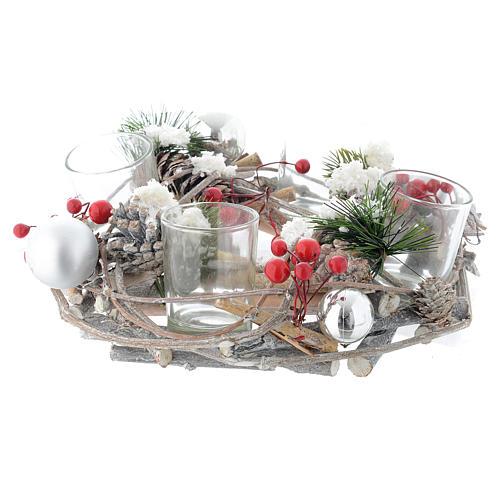 Centrotavola di Natale e Avvento con bicchieri e bacche 2