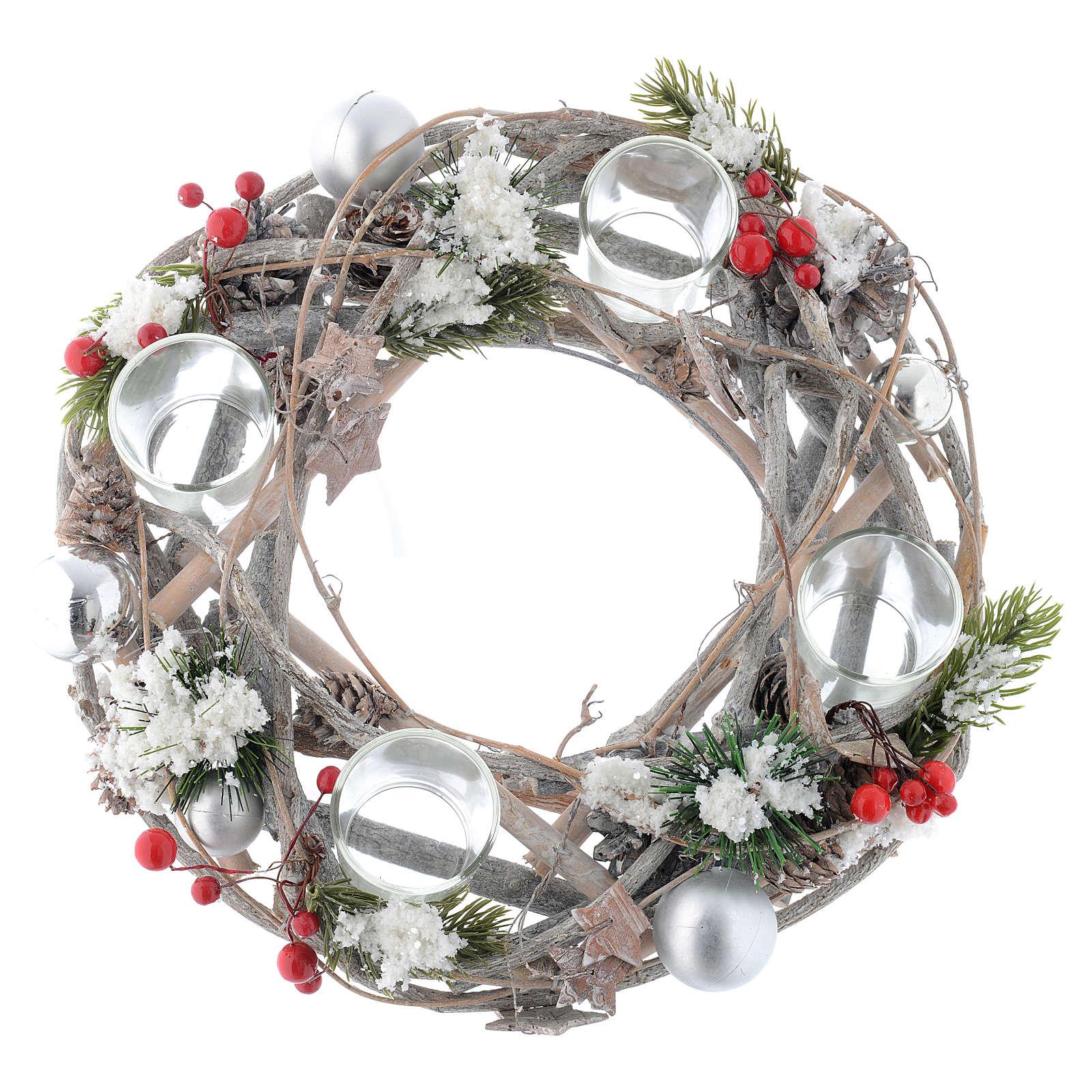 Centrotavola Avvento e Natale bacche rosse 4 bicchieri 3