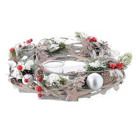 Centrotavola Avvento e Natale bacche rosse 4 bicchieri s2