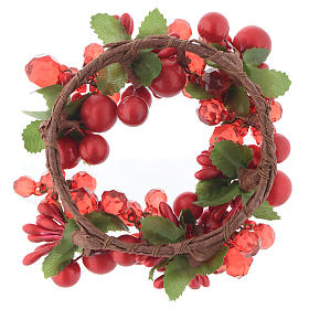 Garland for Christmas candles with pearls 8cm diameter s2