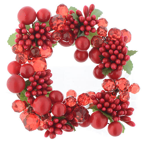Garland for Christmas candles with pearls 8cm diameter 1