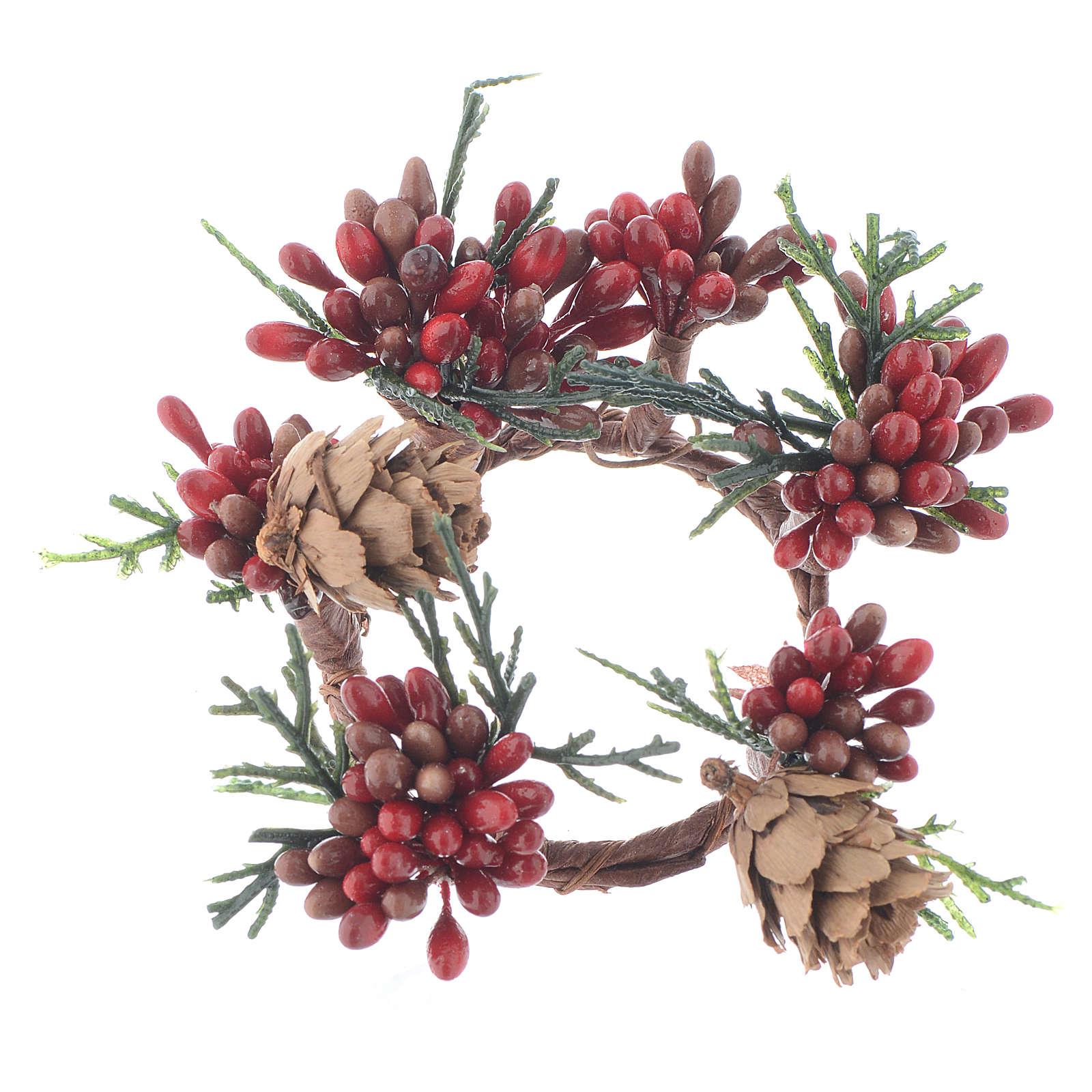 Stroik bożonarodzeniowy czerwony jagody świeczki o średnicy 4cm 3