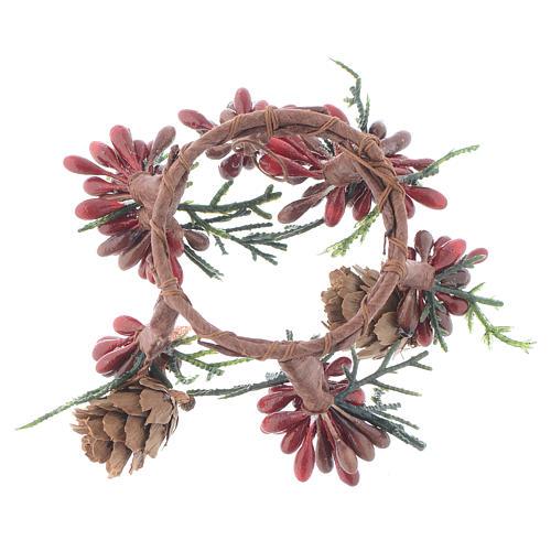 Stroik bożonarodzeniowy czerwony jagody świeczki o średnicy 4cm 2