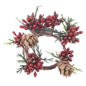 Enfeites de Natal para a Casa: Coroa de vela Natal vermelha com bagas para velas 4 cm
