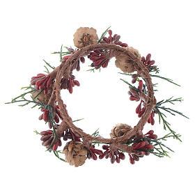 Girocandela natalizio rosso con bacche candele 8 cm s2