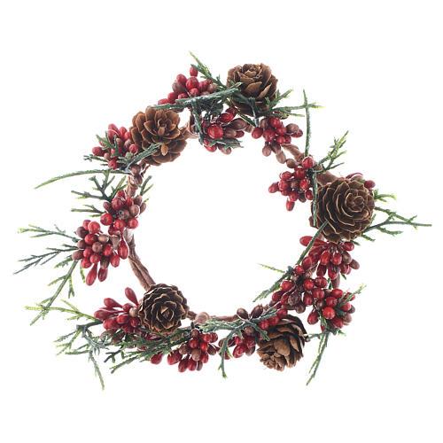 Girocandela natalizio rosso con bacche candele 8 cm 1