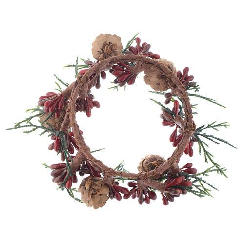 Girocandela natalizio rosso con bacche candele 8 cm 2