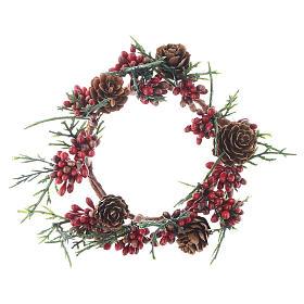 Enfeites de Natal para a Casa: Coroa de vela Natal vermelha com bagas para velas 8 cm