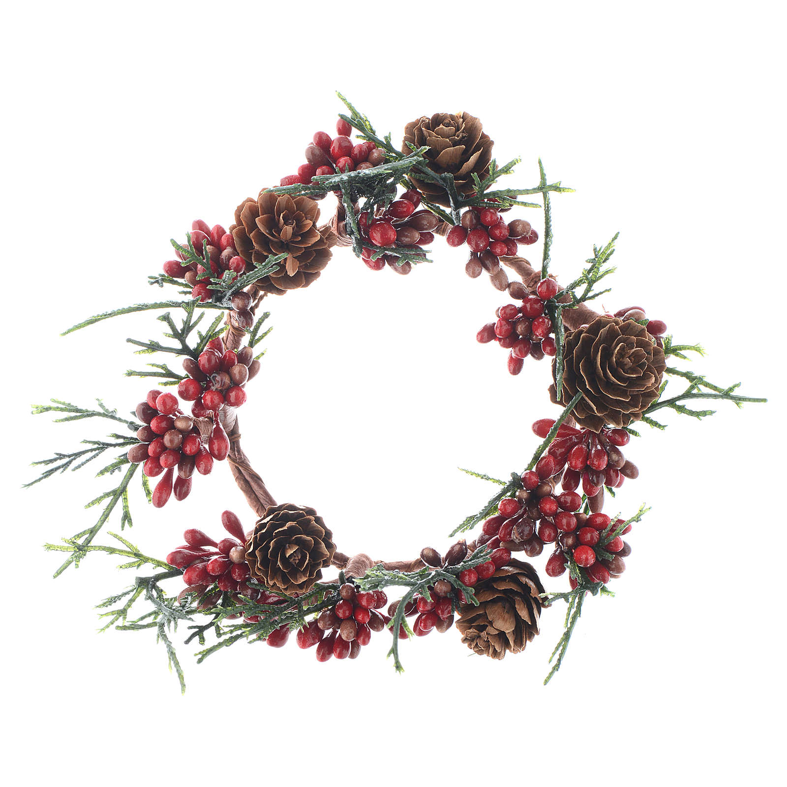 Christmas Candle Ring with pine cones and red berries 8cm diameter 3