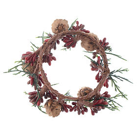 Christmas Candle Ring with pine cones and red berries 8cm diameter s2