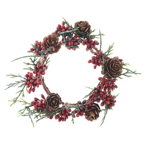 Christmas Candle Ring with pine cones and red berries 8cm diameter 1