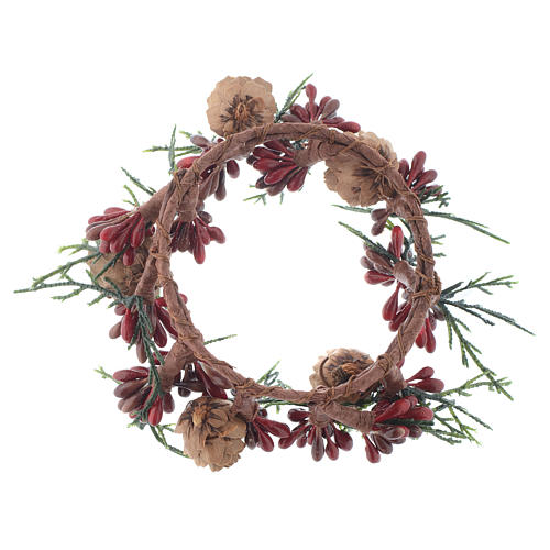 Christmas Candle Ring with pine cones and red berries 8cm diameter 2