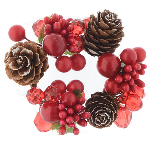 Christmas candle embellishment,red with berries and pine cones 4cm diameter 1