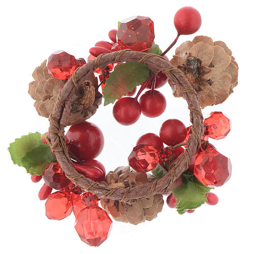 Christmas candle embellishment,red with berries and pine cones 4cm diameter 2