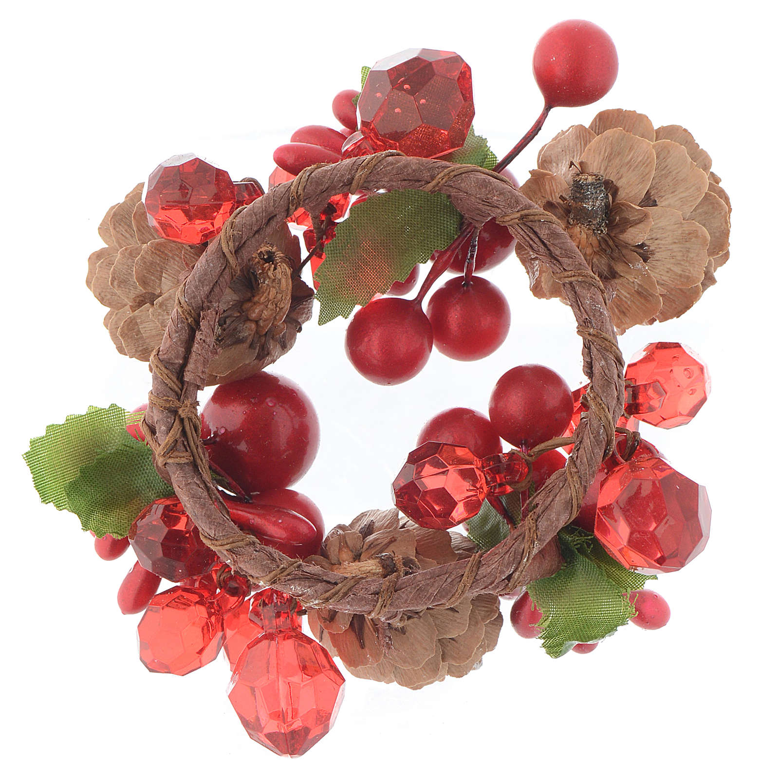 Couronne de Noël rouge avec baies pin bougies 4 cm 3