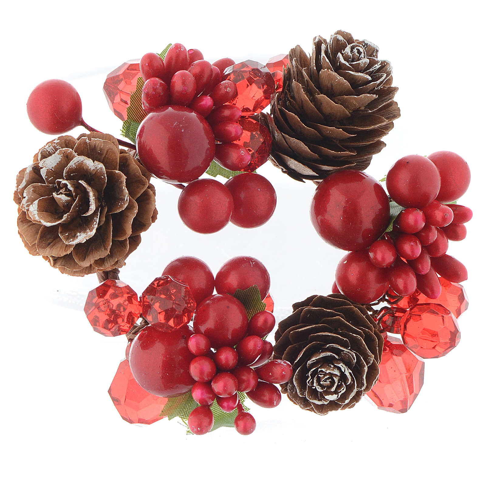 Christmas candle embellishment,red with berries and pine cones 4cm diameter 3