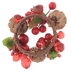 Christmas candle embellishment,red with berries and pine cones 4cm diameter s2