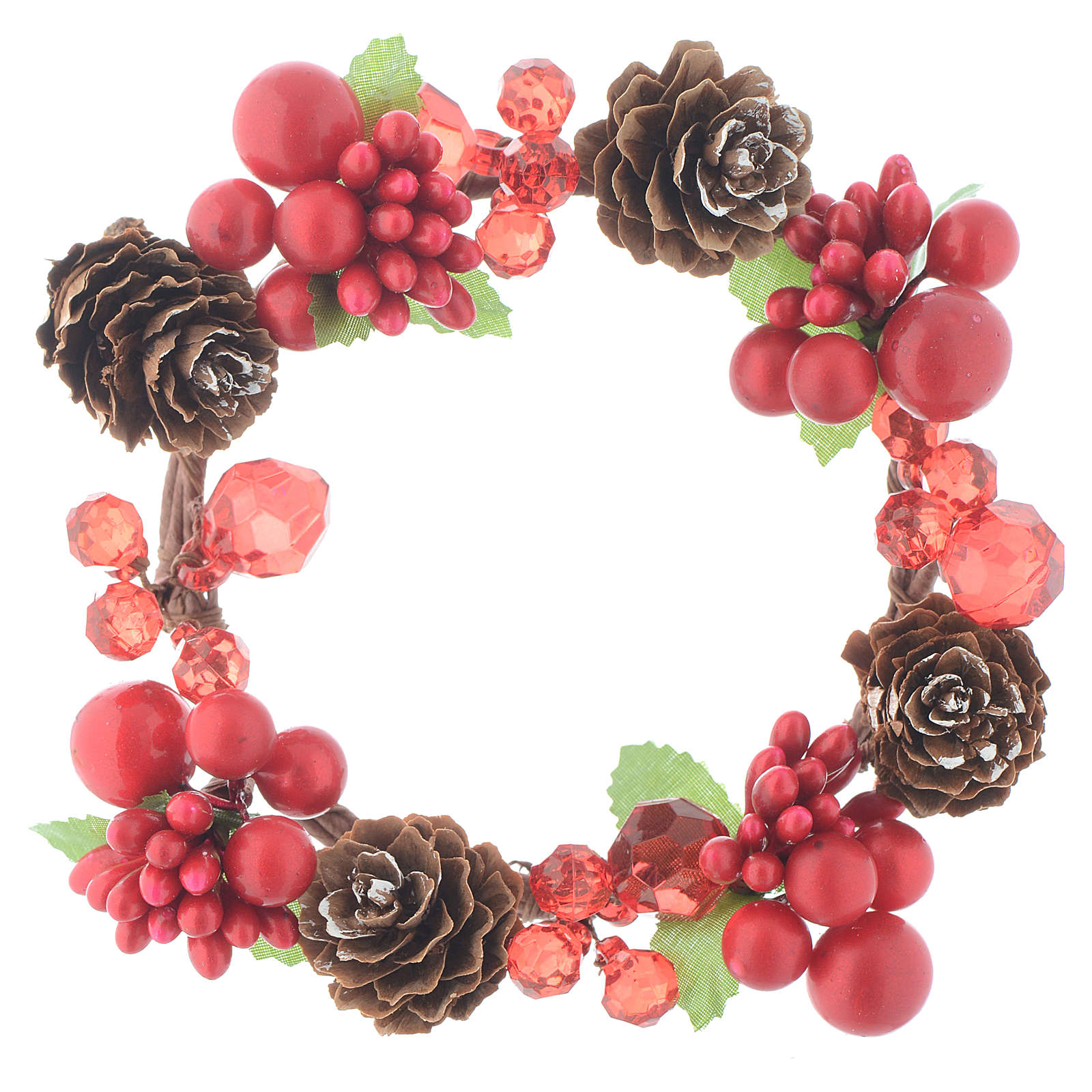 Girocandela natalizio rosso con bacche pino candele 8 cm 3