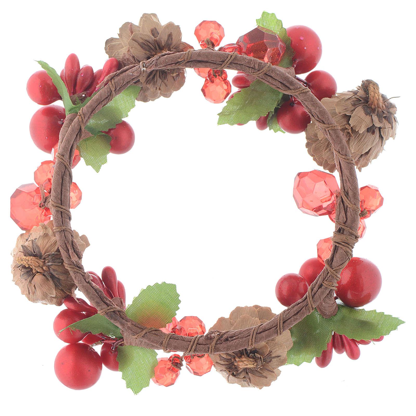 Coroa de vela Natal vermelha com bagas e cones para velas 8 cm 3