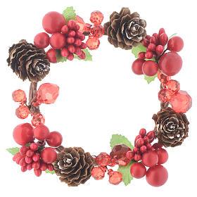 Coroa de vela Natal vermelha com bagas e cones para velas 8 cm s1