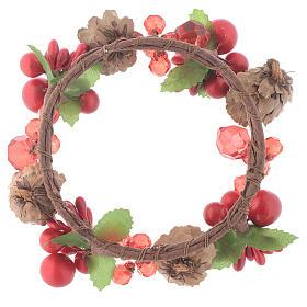 Coroa de vela Natal vermelha com bagas e cones para velas 8 cm s2