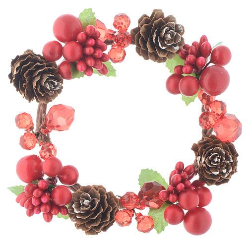 Coroa de vela Natal vermelha com bagas e cones para velas 8 cm 1