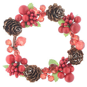 Christmas candle embellishment,red with berries and pine cones 8cm diameter s1