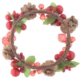 Christmas candle embellishment,red with berries and pine cones 8cm diameter s2