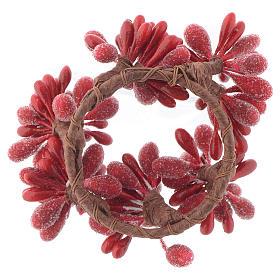 Girocandela di Natale rosso con bacche pigne candele 4 cm s2