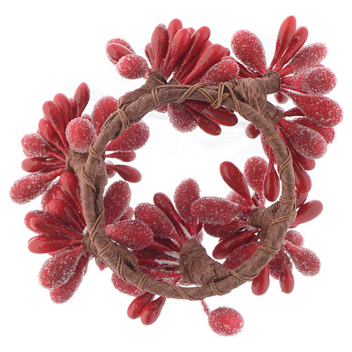 Girocandela di Natale rosso con bacche pigne candele 4 cm 2