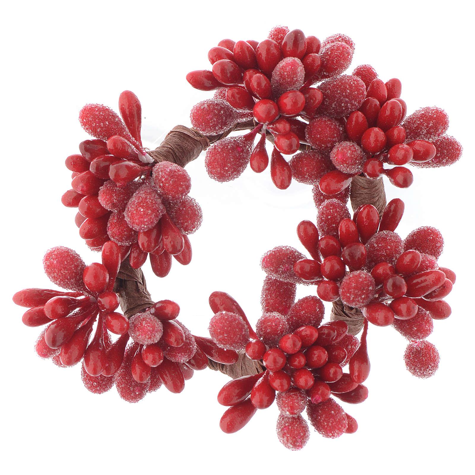Stroik bożonarodzeniowy czerwony na świeczki o średnicy 4cm jagody szyszki 3