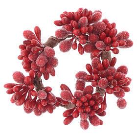 Stroik bożonarodzeniowy czerwony na świeczki o średnicy 4cm jagody szyszki s1