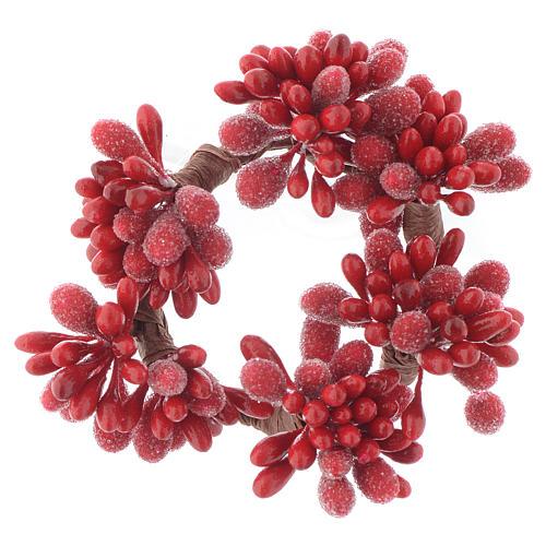 Stroik bożonarodzeniowy czerwony na świeczki o średnicy 4cm jagody szyszki 1