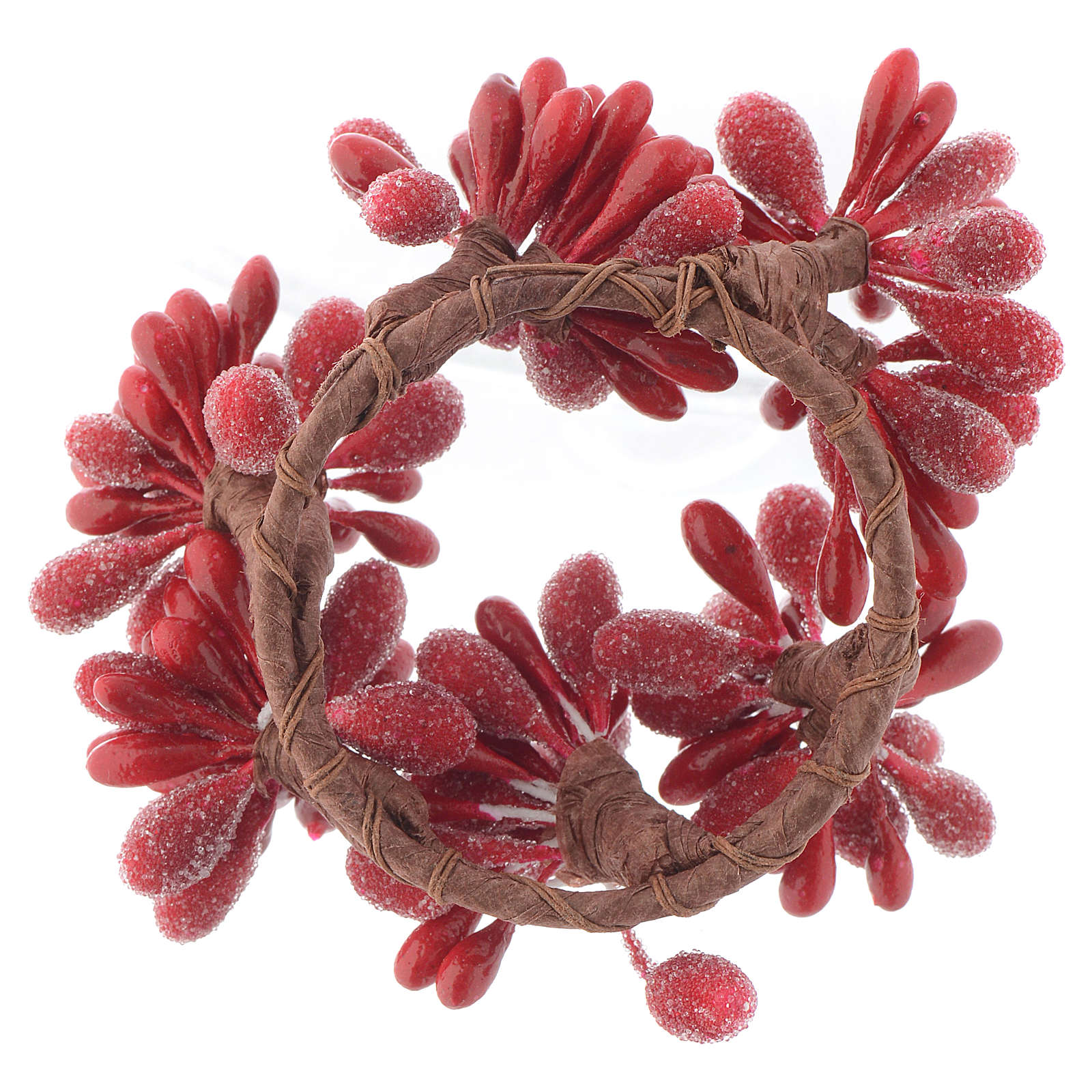Christmas Candle Ring with Red Berries 4cm diameter 3