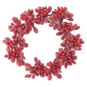 Enfeites de Natal para a Casa: Coroa de vela Natal vermelha com bagas efeito neve para velas 8 cm