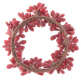 Red Berry Christmas Candle Ring Holder 8cm diameter s2