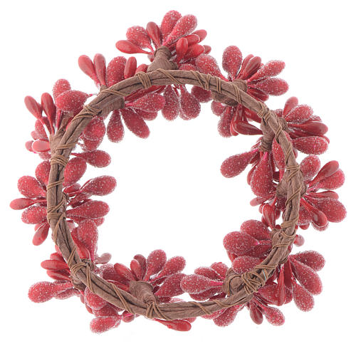 Red Berry Christmas Candle Ring Holder 8cm diameter 2