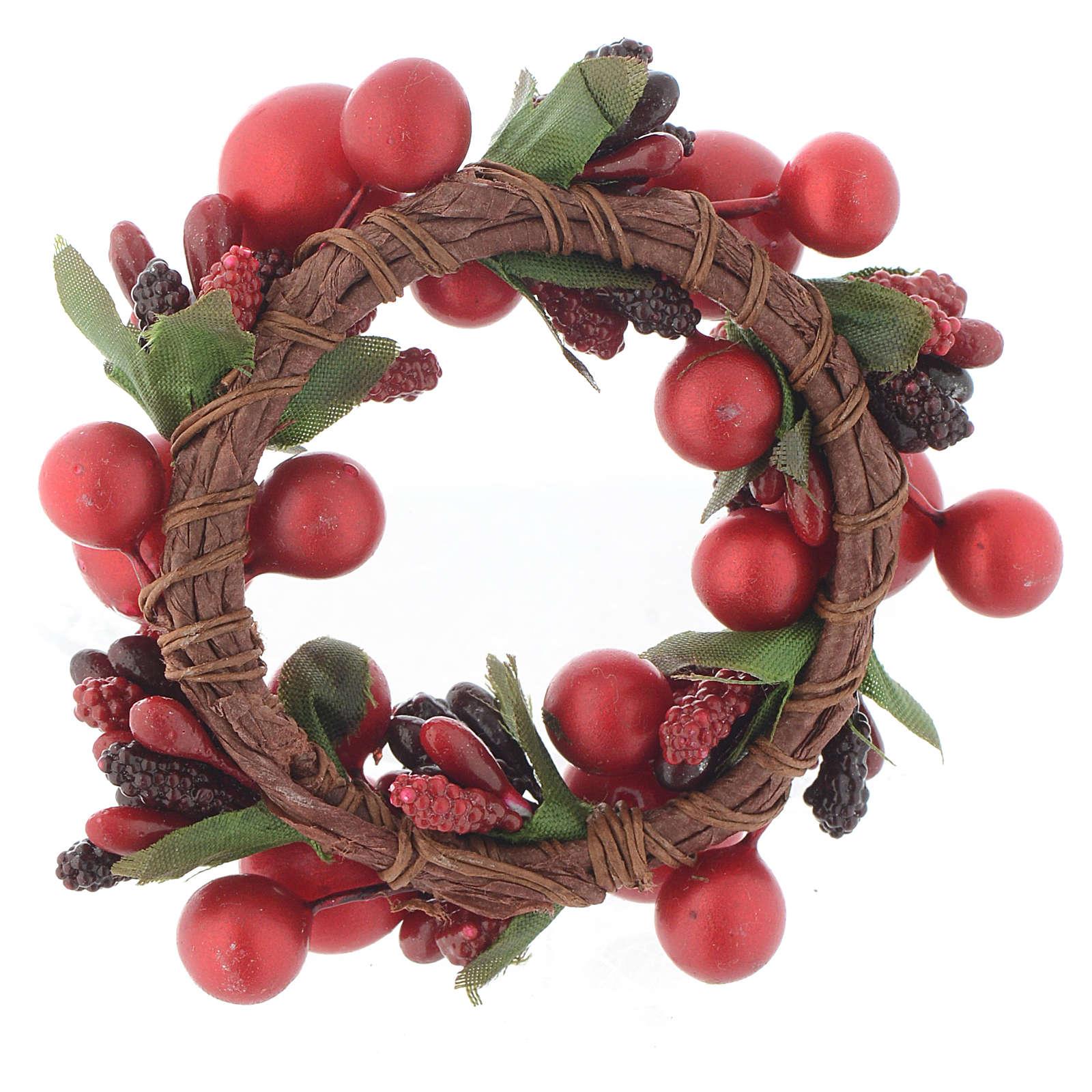 Girocandela di Natale rosso con bacche rosse candele 4 cm 3