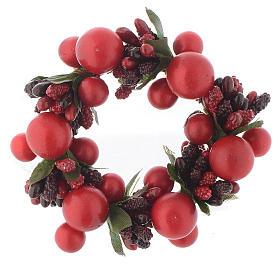 Girocandela di Natale rosso con bacche rosse candele 4 cm s1
