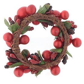 Girocandela di Natale rosso con bacche rosse candele 4 cm s2