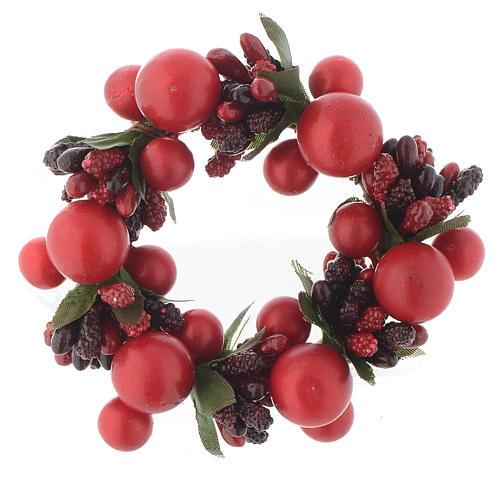 Girocandela di Natale rosso con bacche rosse candele 4 cm 1