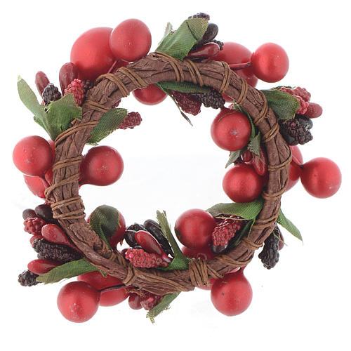 Girocandela di Natale rosso con bacche rosse candele 4 cm 2