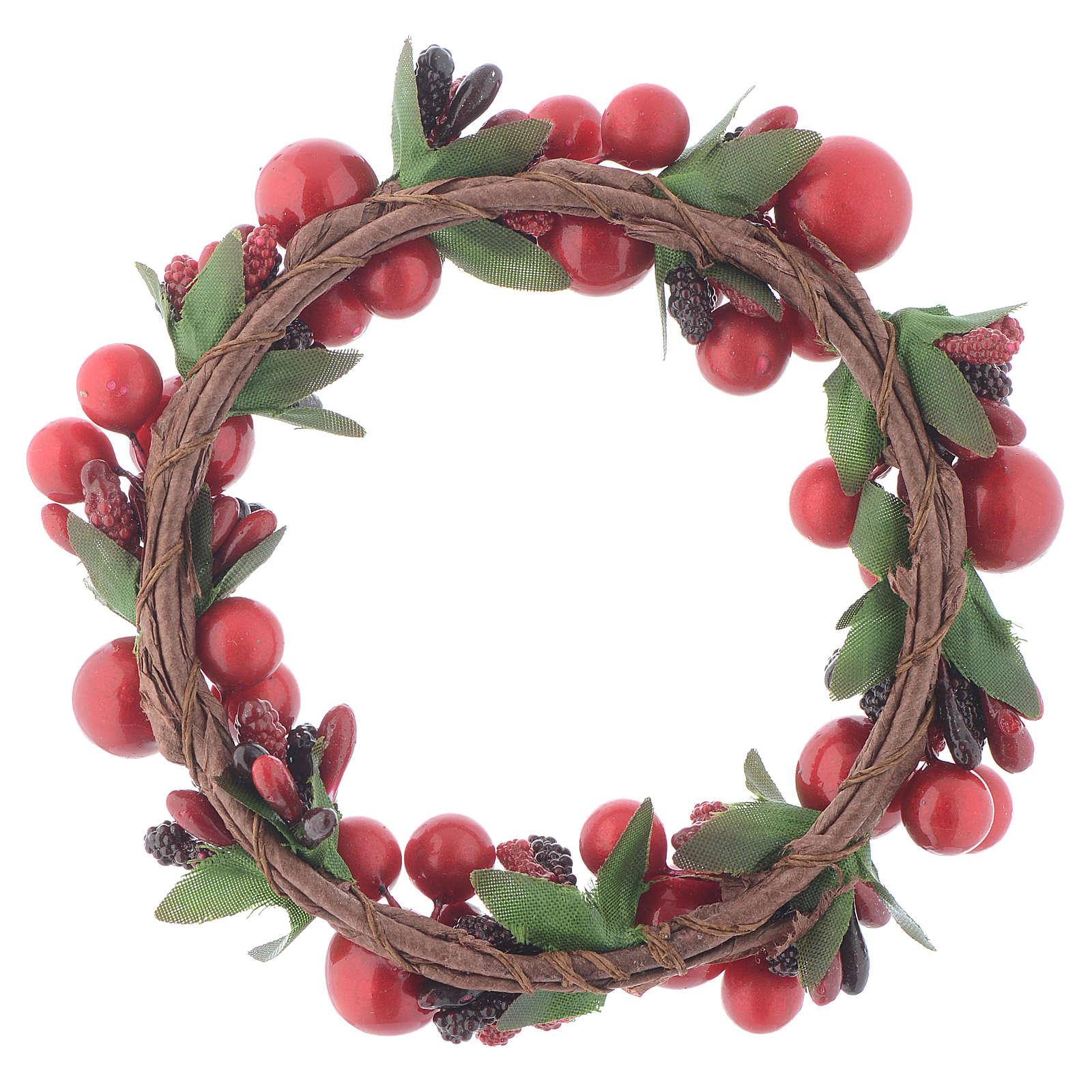 Girocandela natalizio rosso con bacche rosse candele 8 cm 3
